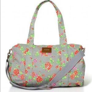 Victoria Secret PINK Gym Duffle Bag Grey Floral